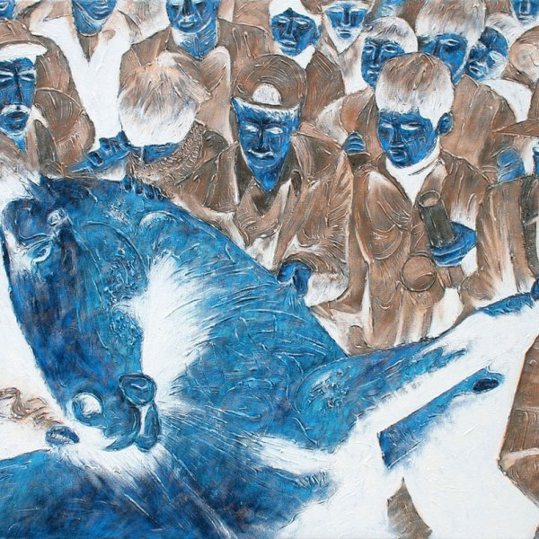 Thomas Michel, Blue Horse, oil on canvas, 2005, 130x180 cm