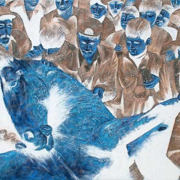 Thomas Michel, Blaues Pferd, Öl auf Leinwand, 2005, 130x180 cm