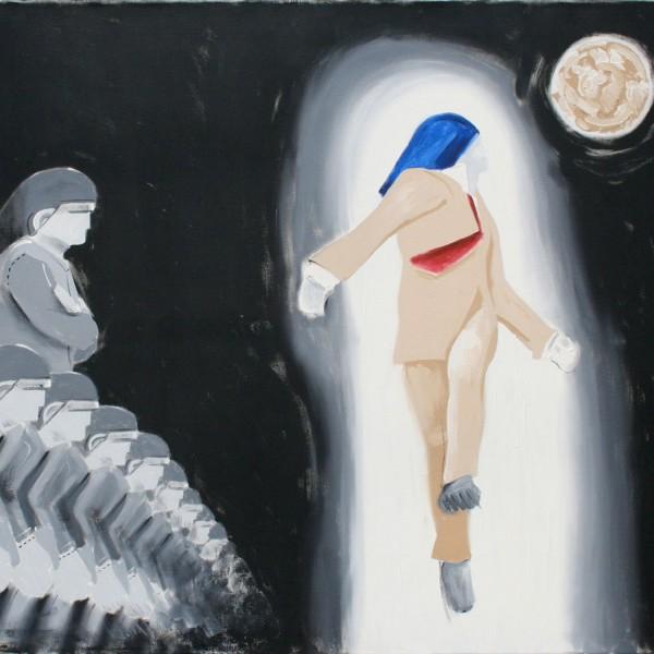 Thomas Michel, Die Verspottung Christi, Öl auf Leinwand, 1994, 120x160 cm