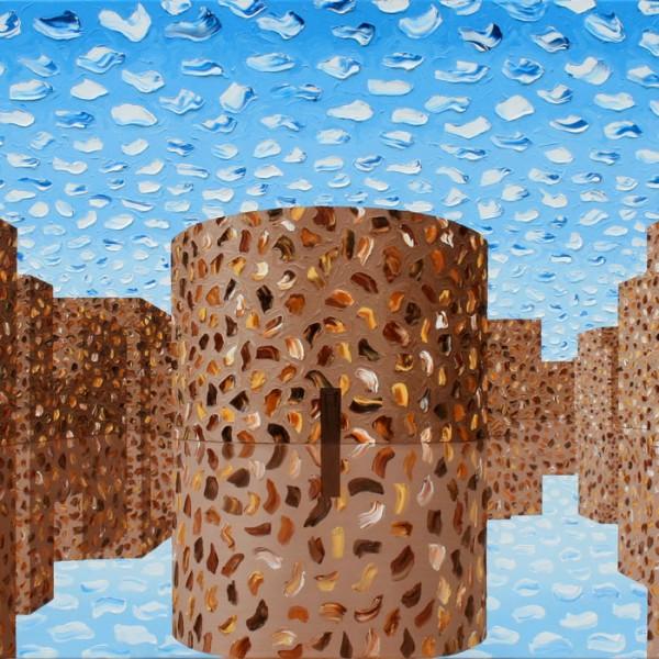 Thomas Michel, Die ideale Stadt, Öl auf Leinwand, 2006, 100x200 cm