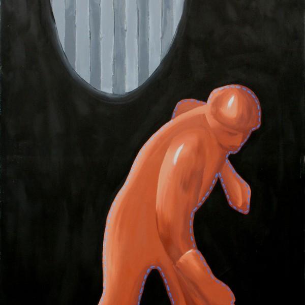 Thomas Michel, Läufer, Öl auf Leinwand, 1996, 130x90 cm