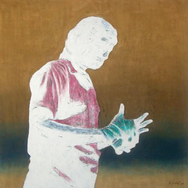Thomas Michel, Verkündigung, Öl auf Leinwand, 2006, 100x100 cm